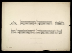 Sir Jamsetjee Jeejeebhoy's Hospital, Bombay, 'Side and front Elevations'. Published c.1842. 228